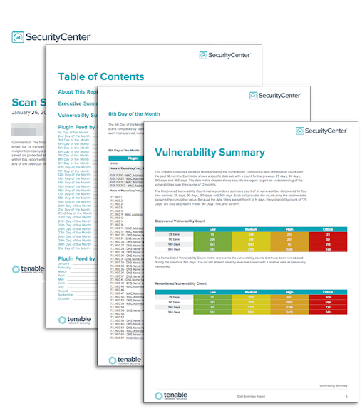 scan summary report sc report template tenable