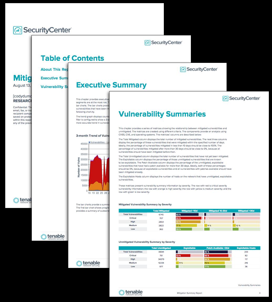 mitigation summary report sc report template tenable